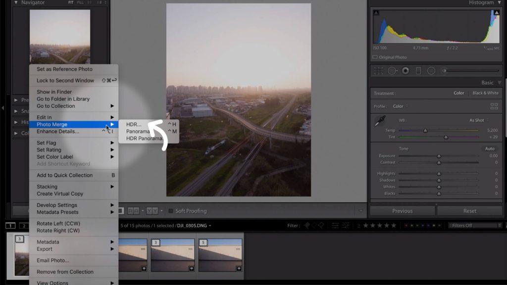 1 - נלחץ על ערימה נבחרת במקש ימני ונבחר ב- Photo Merge ואז ב-HDR
